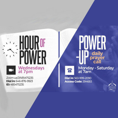 Hour of Power Wednesdays at 7PM, You can join via Zoom: https://zoom.us/J/485475235 or Dial in using: (646) 876-9923 Access Code: 485 475 235. Power-Up Monday - Saturday at 7AM You can join via telephone using: (563) 999-2090, Access Code: 394 683