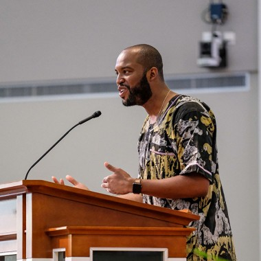 Rev. Dustin Sullivan delivering a sermon