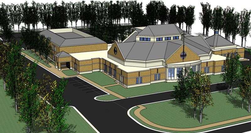 An architectual rendering of the Heritage Fellowship Church
